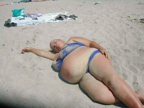 Big lady on beach